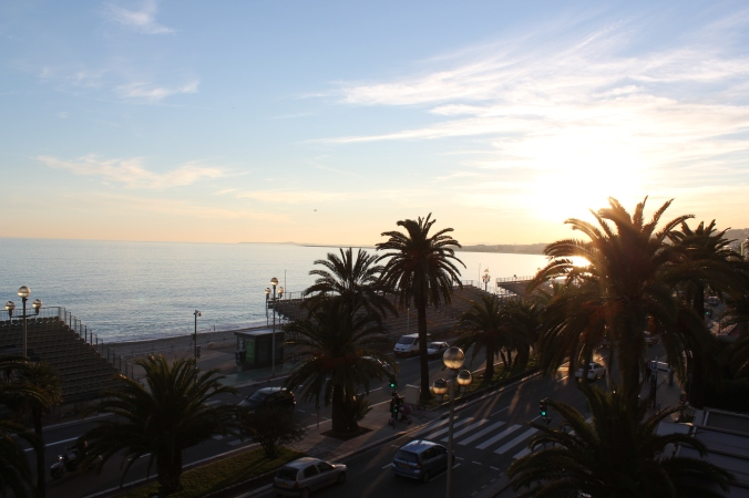 Sunset in Nice from our hotel. Photo by Steve Collier.