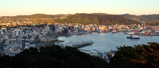 Wellington City at dawn on New Year's Day, 2015. Photo by Steve Collier, 2015.